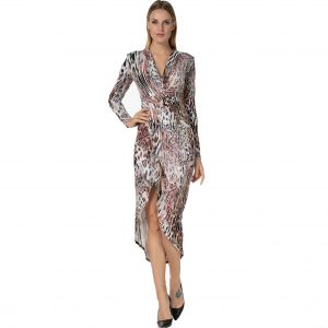 Peach Leopard Print Ruched Long Sleeve Dress