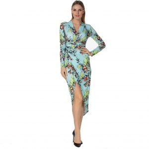 Turquoise Flower Print Ruched Long Sleeve Dress