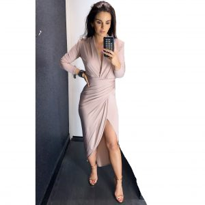 Nude Pink Ruched Long Sleeve Dress
