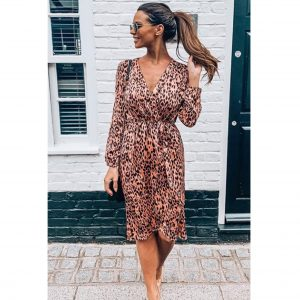 Pink Leopard Wrap Dress