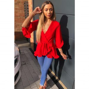 Red Frill Wrap Top