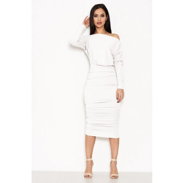 White Ruched Boatneck Dress
