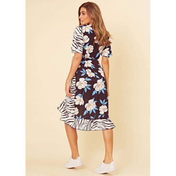 Black Floral and Zebra Mix Dress