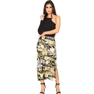 Black Floral Satin Midi Skirt