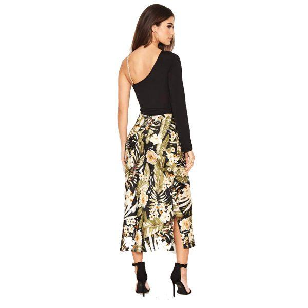 Black Floral Satin Midi Skirt