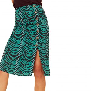 Green Zebra Button Front Skirt