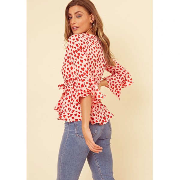 Pink and Red Heart Peplum Top