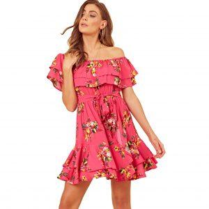 Pink Floral Bardot Skater Dress