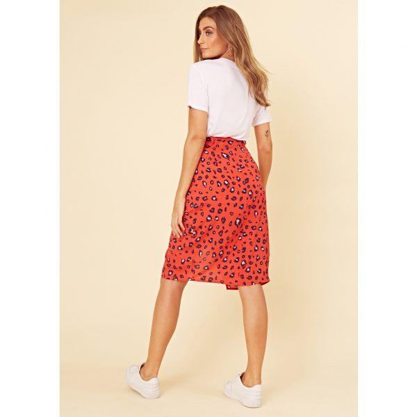 Red Leopard Wrap Skirt