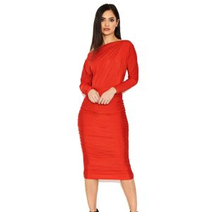 Red Ruched Boatneck Dress