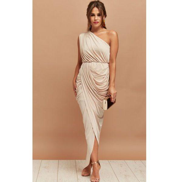 Beige Ruched One Shoulder Dress