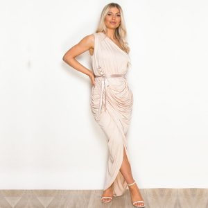Beige Ruched One Shoulder Dress