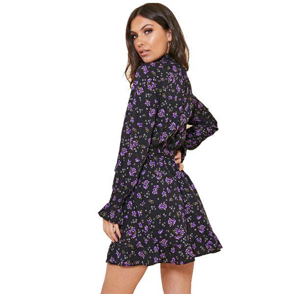 Black Floral High Neck Tea Dress