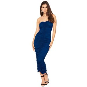 Blue Ruched Strapless Dress