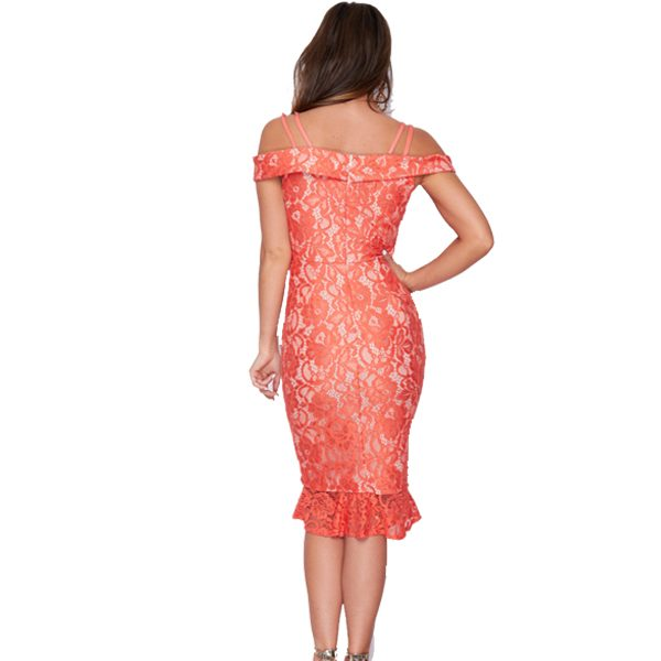 Coral Lace Midi Dress