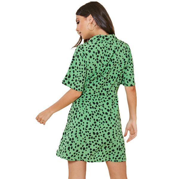 Green Leopard Shirt Dress