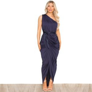 Navy Ruched One Shoulder Dress