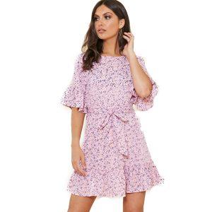 Baby Pink Floral Tea Dress