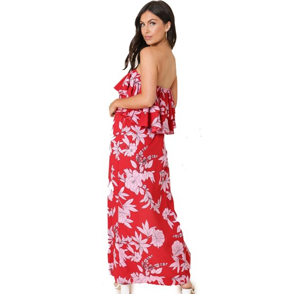 Red And Pink Floral Strapless Dress