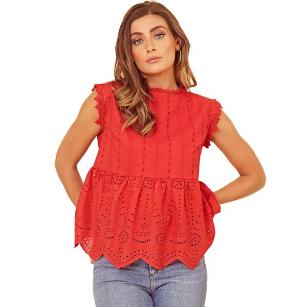 Red Broderie Anglaise Top