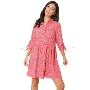 Red Heart Print Shirt Dress