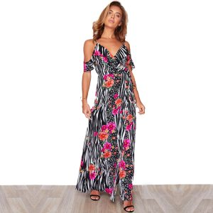 Zebra Floral Cold Shoulder Maxi