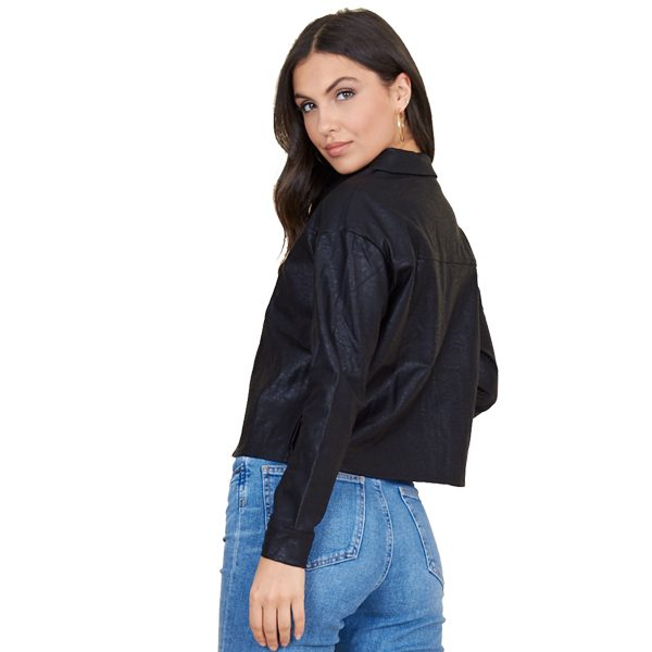 Black Leather Look Cropped Shirt