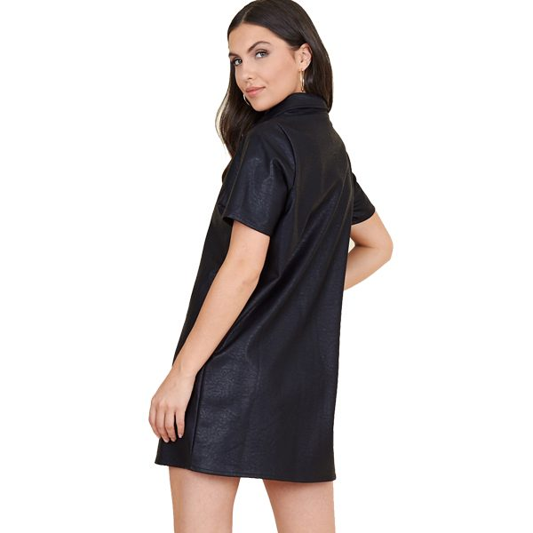 Black Leather Look Shirt Dress