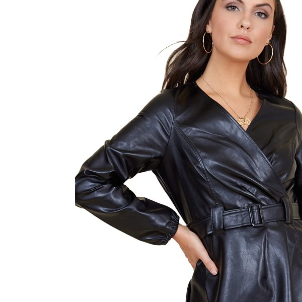Black Leather Look Wrap Dress