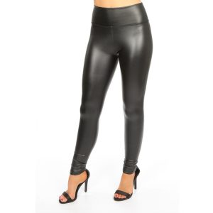 Black PU Biker Panel Leggings