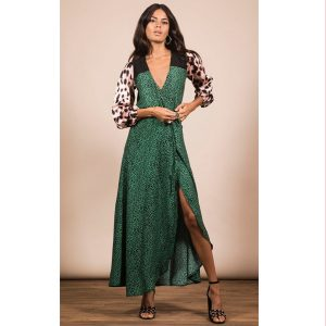 Dancing Leopard Jagger Dress in Green Leopard Mix