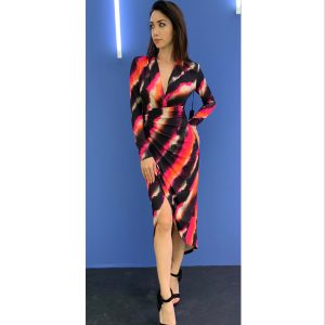 Multi Colour Abstract Print Long Sleeve Dress