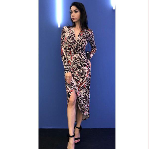Multi Leopard Print Long Sleeve Dress