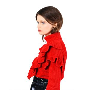 Red Frill Knit Sweater