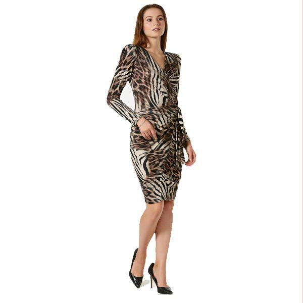 Short Tiger Puff Shoulder Dress