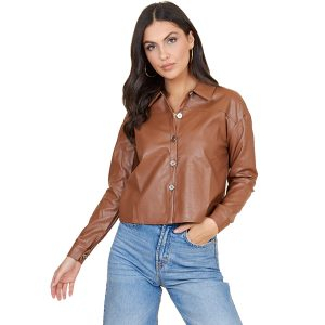 Tan Leather Look Cropped Shirt