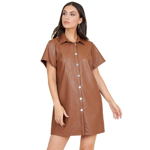 Tan Leather Look Shirt Dress