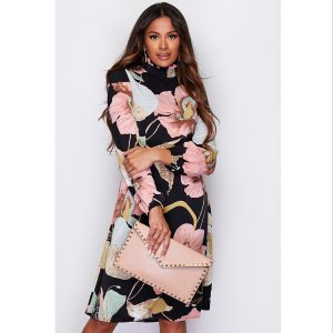 Black And Pink Floral High Neck Dress