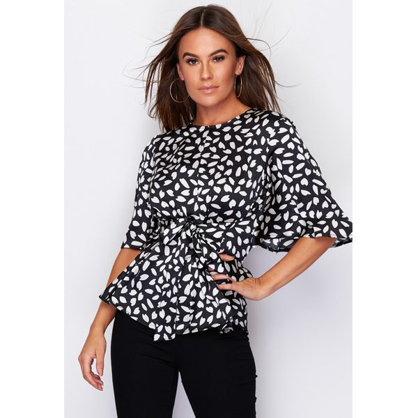 Black And White Abstract Print Top