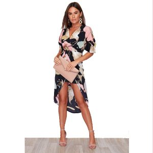 Black and Pink Floral Wrap Dress