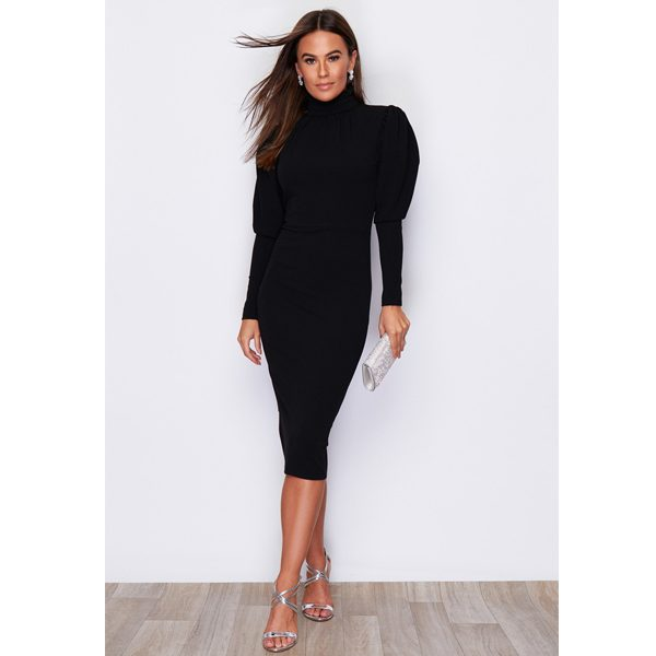 Black High Neck Puff Shoulder Dress