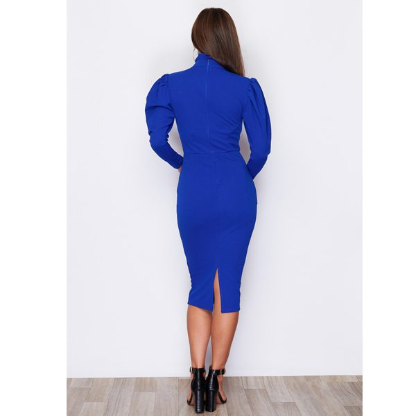 Blue High Neck Puff Shoulder Dress