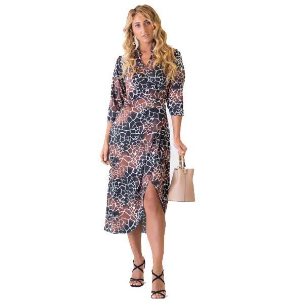 Giraffe Print Wrap Dress