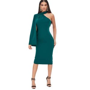 Green One Shoulder Cape Sleeve Dress