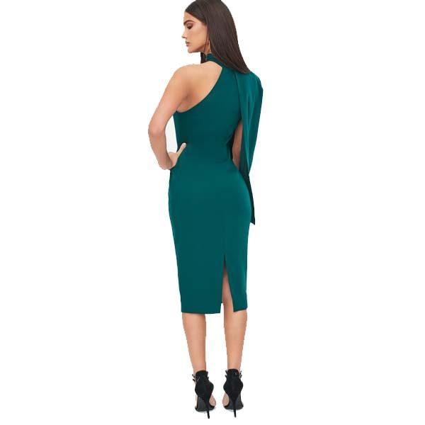 Green One Shoulder Cape Sleeve Dress