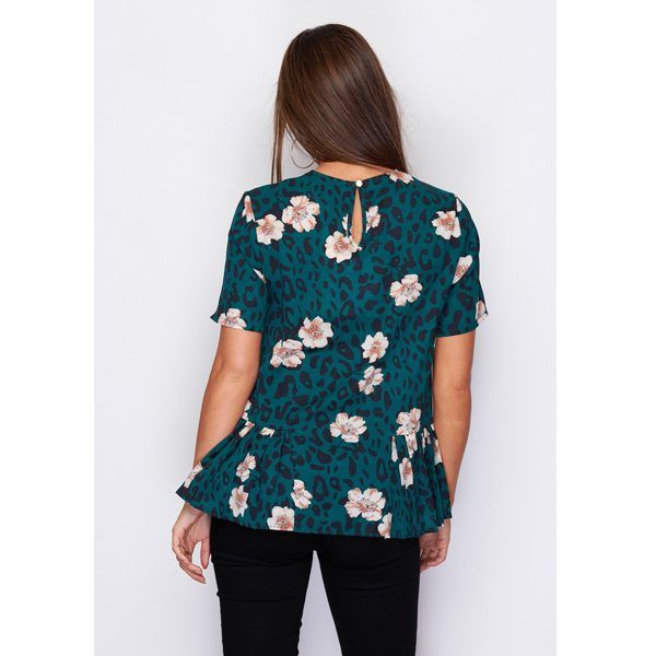 Green Leopard Floral Top
