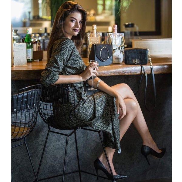 Khaki Green Leopard wrap dress with granda collar