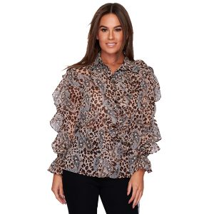 Leopard Frill Blouse