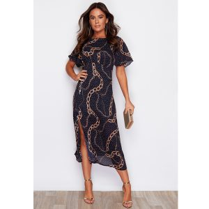 Navy And Gold Chain Print Dress