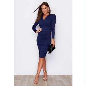 Navy Ruched Dress